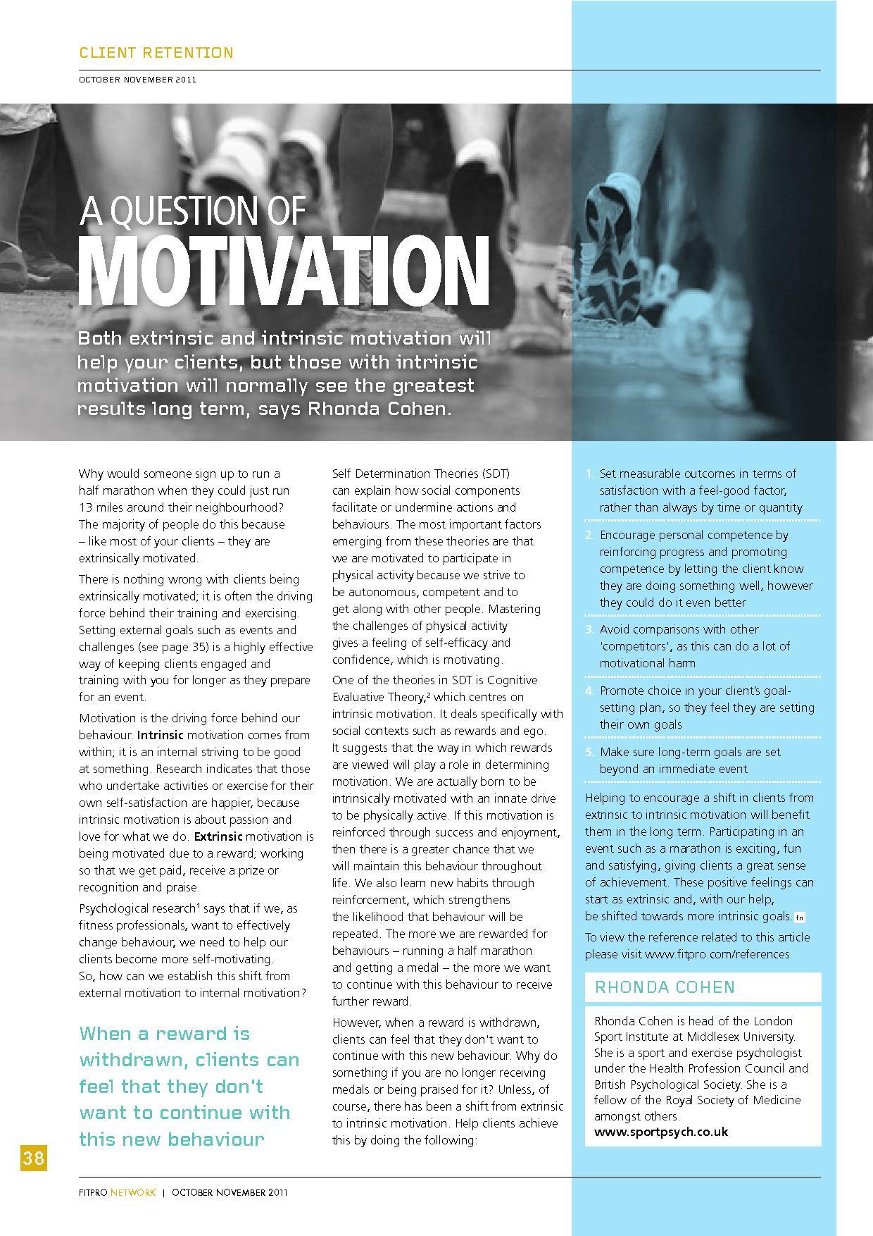 Rhonda Cohen interviewed in Fitpro Network Magazine about ...