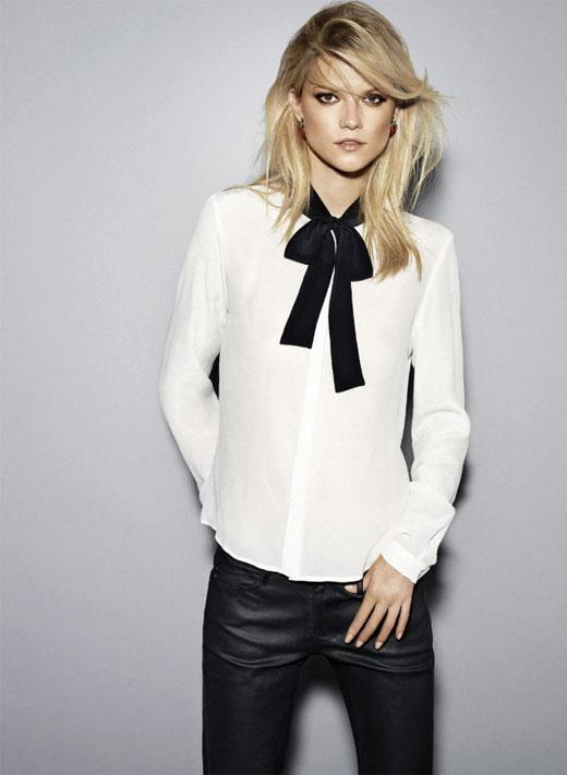 Mango Fall Preview 2011.  White blouse, Tuxedo Dressing, Black Pants