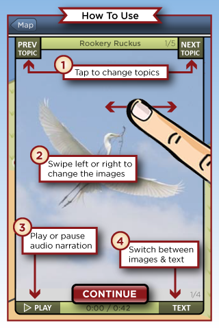 Slow Life Games Baylands Tour App Image of the How To Use Screen