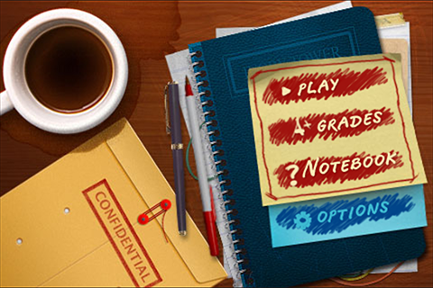 The Main Menu is an image of a faculty member's desk with coffee and post-it notes. Play, Notebook, Grades, Options, and a Confidential Envelope are the clickable options.