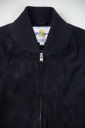 Beau Inventory Magazine   Inventory Updates   Golden Bear Sportswear Navy Suede  Zip Front Baseball Jacket