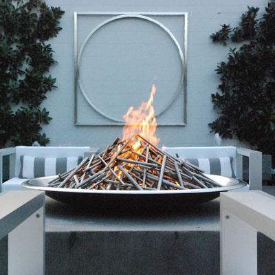 A unique modern fire bowl in Sonoma