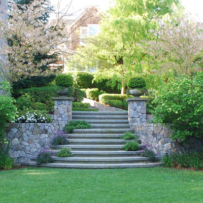 A stone stairway with topiary in Marin