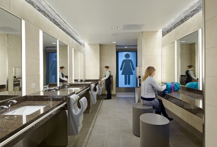 Bathrooms In Hotels Restrooms And Even Airports Tend To Carry A Touch Of Class That Corporate Offices So Often Lack Pictured Above Ladies