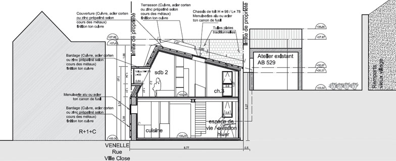 A permis denvisager un projet contemporain pour cet atelier jouxtant l architecture traditionnelle de la grange et des constructions environnantes