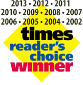Times Reader's Choice winner 2002, 2004, 2005, 2006, 2007, 2008, 2009, 2010, 2011, 2012