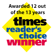 Times Reader's Choice Awarded 12 out of the 13 years
