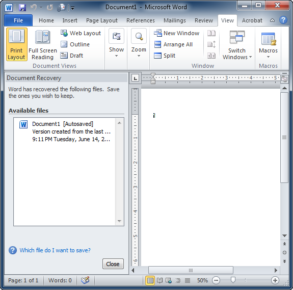 Find lost files when autosave fails in Microsoft Word