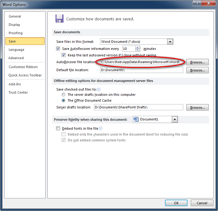 step 2 navigate to the autorecover file location from within word