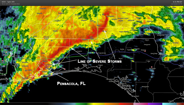 Squall-line on radar in Escambia County, FL tonight.