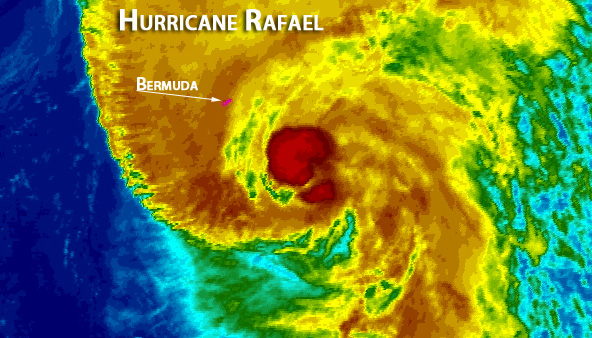 Hurricane Rafael passing just east of Bermuda.