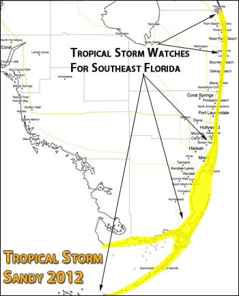 Hurricane Sandy Florida Watches map 2012