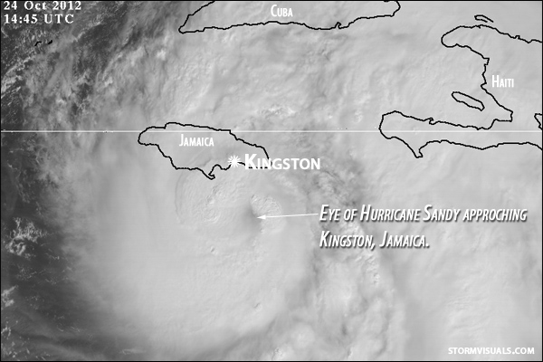 Satellite picture of Sandy's eye developing.