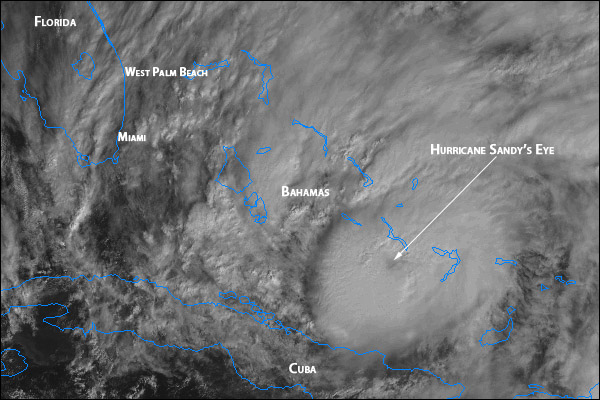 Sandy moving into the Bahamas on satellite