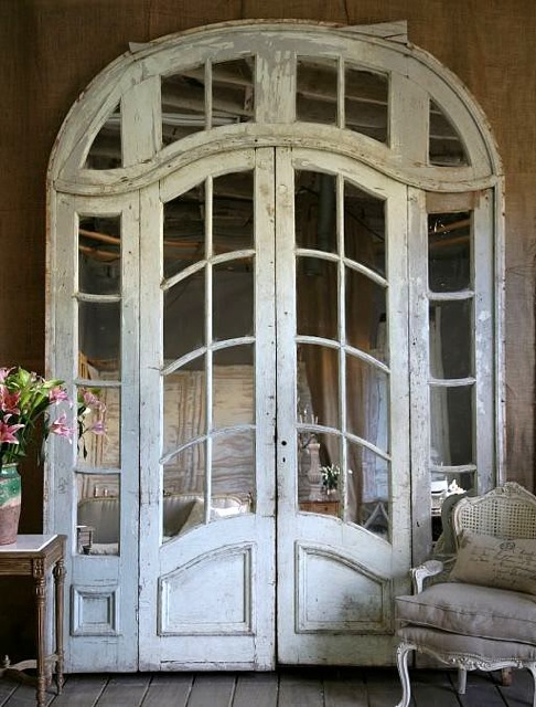 These beautiful antique chateau mirrored doors come from lidys shop at french garden house you can link to her shop here lidy also writes a wonderful