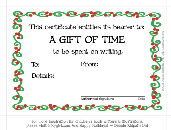 free babysitting gift certificate template - a gift of time holiday gift certificate for your writer