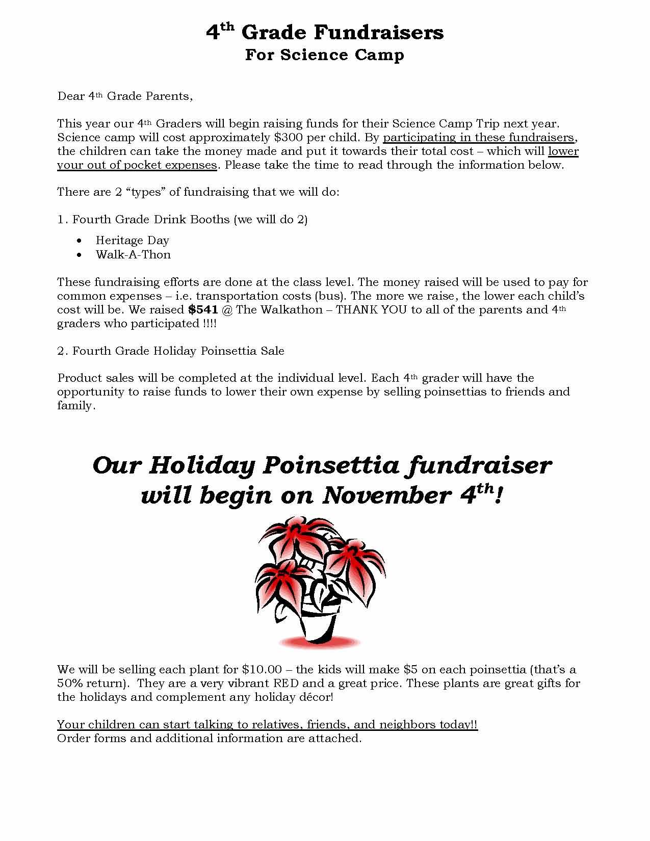 order form poinsettia 4th grade student letter