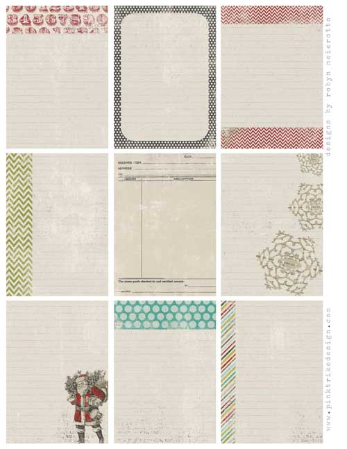 Vintage style holiday journaling card freebie for project life one