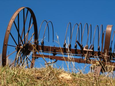antique hayrake Oregon ranch land for sale