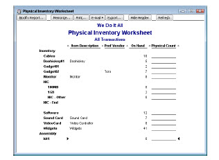 focus on two areas of Quickbooks -- the Physical Inventory Worksheet ...
