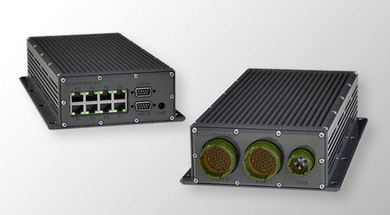 16 channel conduction cooled router/switch based on Juniper's LN 1000 router and PCI-Systems managed conduction cooled Gigabit Ethernet switch.