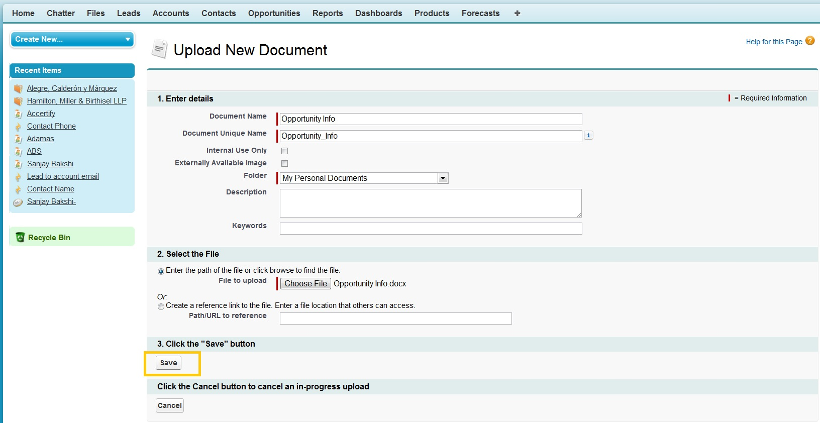 add word document link to sidebar salesforce dev admin With documents in salesforce