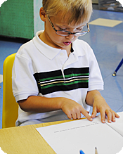 A 5-year-old practicing silent reading