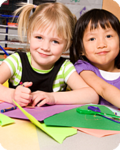 3-year-olds enjoy practicing coloring and using scissors