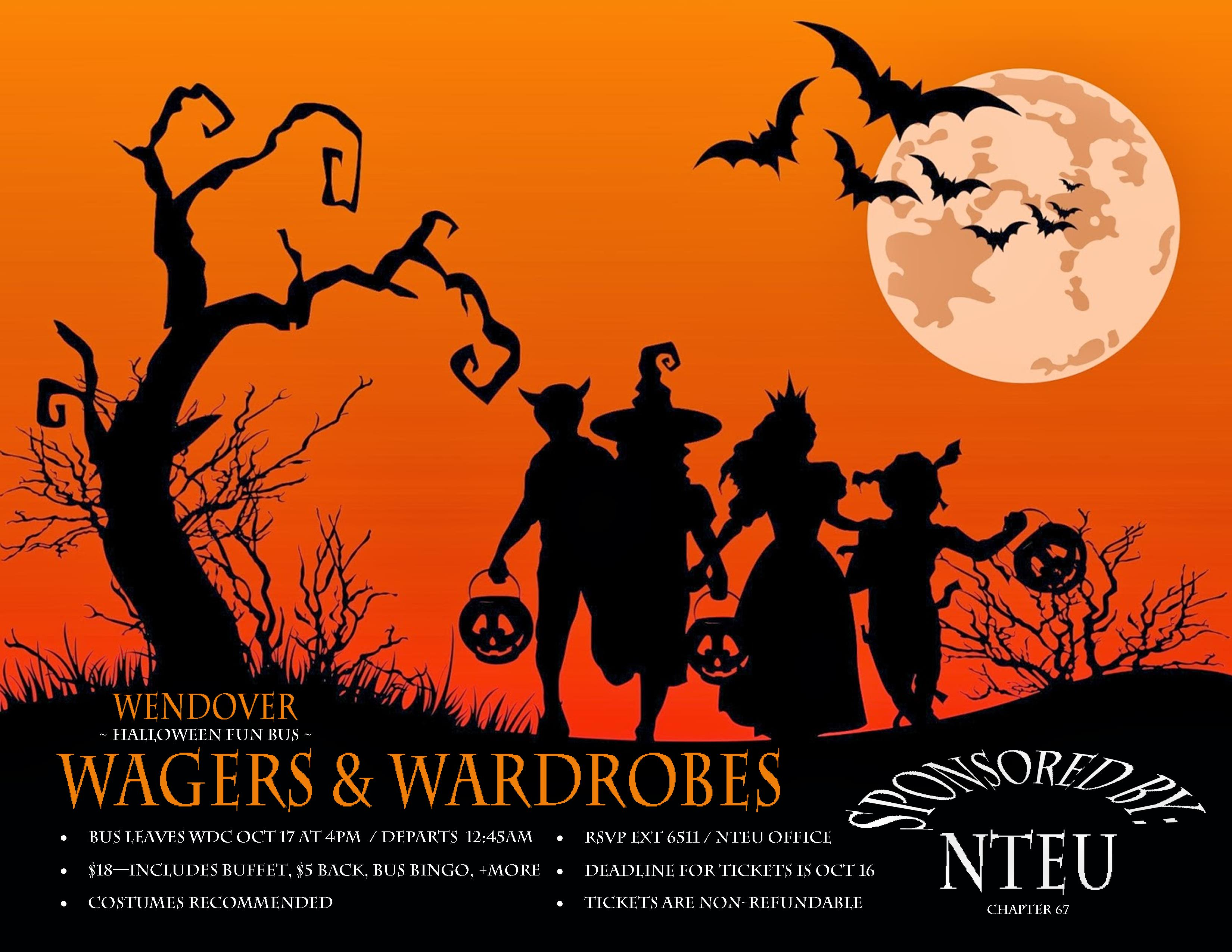 nteu chapter 67 - events - wagers and wardrobes - a halloween fun