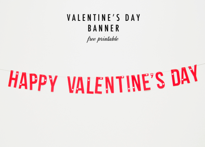 Happy Valentines Day Banner Printable For Facebook