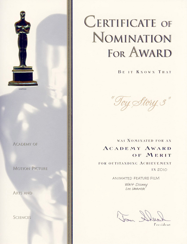 Certificate Of Nomination For Award Blog The Film Experience
