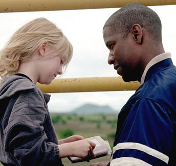 She hands Denzel a teddy bear, and then we cut to the ...