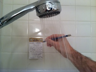 If you're like me, you get most of your best ideas in the shower. But now,  instead of having to run out of the bathroom dripping wet to find some  paper, ...
