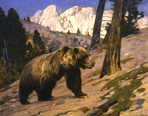 Grizzly Bear Oil Painting 1923, oil on canvas,