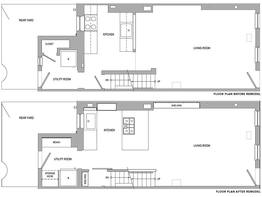 Philadelphia row house floor plan for Row house plan layout