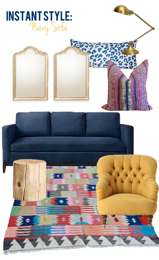 Instant Style Navy Sofa Eclectic Glamour Style Edition Blog Style Edition