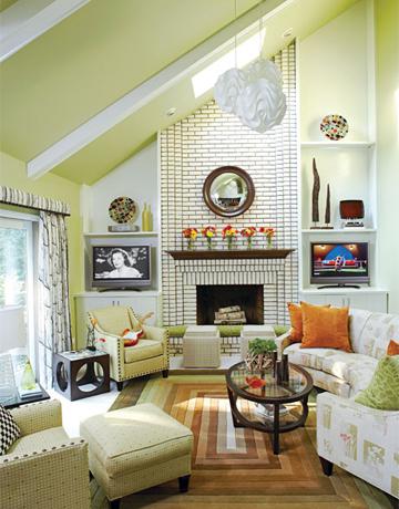 Christine fife interiors design with christine for Sloped ceiling living room ideas