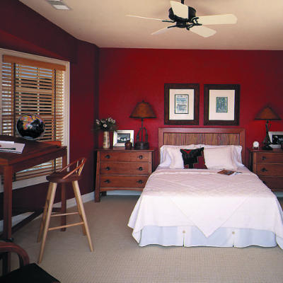 Red painted bedrooms pic