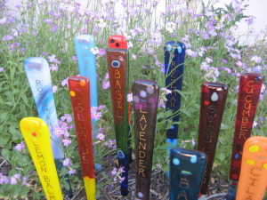 Garden Art Stakes by Fused Art Awards For the Garden bamboo