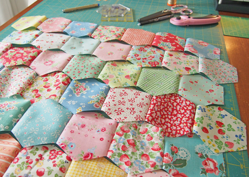 Hope You're Not Tired of Seeing Hexagons Here - Pretty by Hand - : hand sew quilt - Adamdwight.com