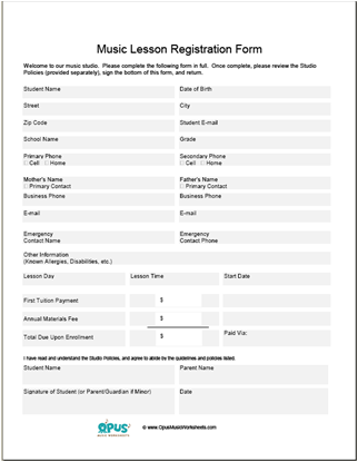 Free Music Teacher Studio Business Forms  Business Forms Templates Free