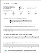 Worksheets Treble Clef Notes Worksheet free printable music worksheets opus theory worksheet lesson 3 the staff treble clef