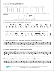 Worksheet Piano Theory Worksheets free printable music worksheets opus lesson 13 eighth rests theory worksheet