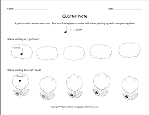 This Free Printable Music Theory Worksheet Teaches Young Students What A Quarter Note Is And How To Draw With Stems Pointing Up Down