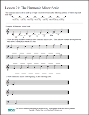 Printables Music Fundamentals Worksheets printables music fundamentals worksheets safarmediapps free printable opus lesson 21 the harmonic minor scale theory