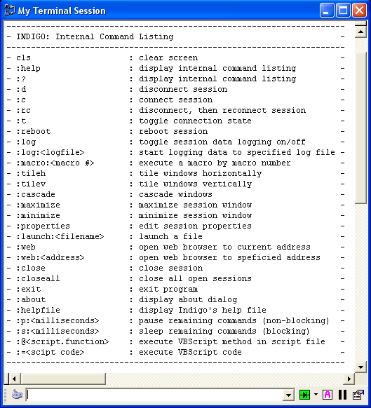 You can view this list inside an Indigo open session window at any time by