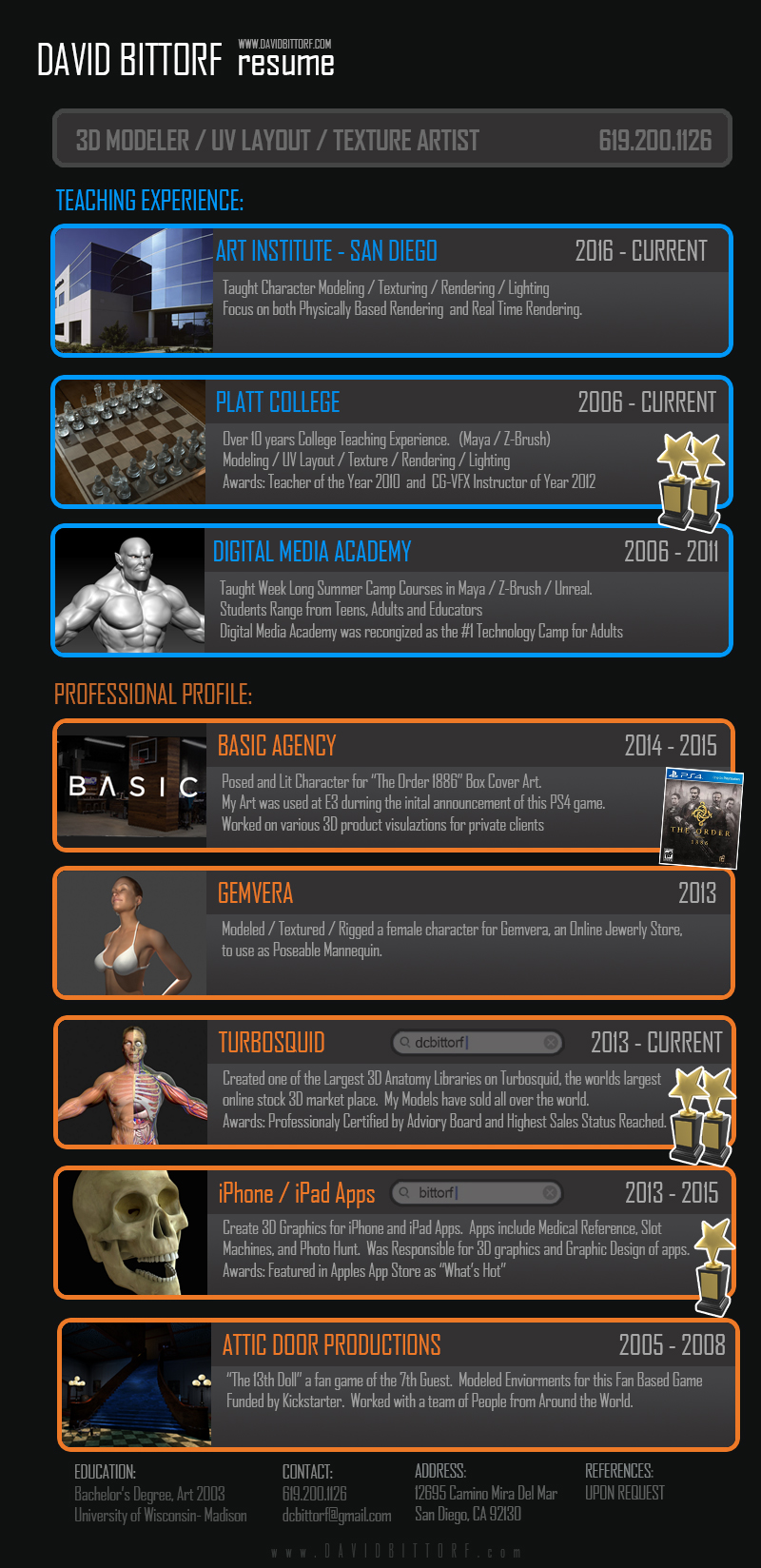 David Bittorf 3d Artist And Instructor Resume