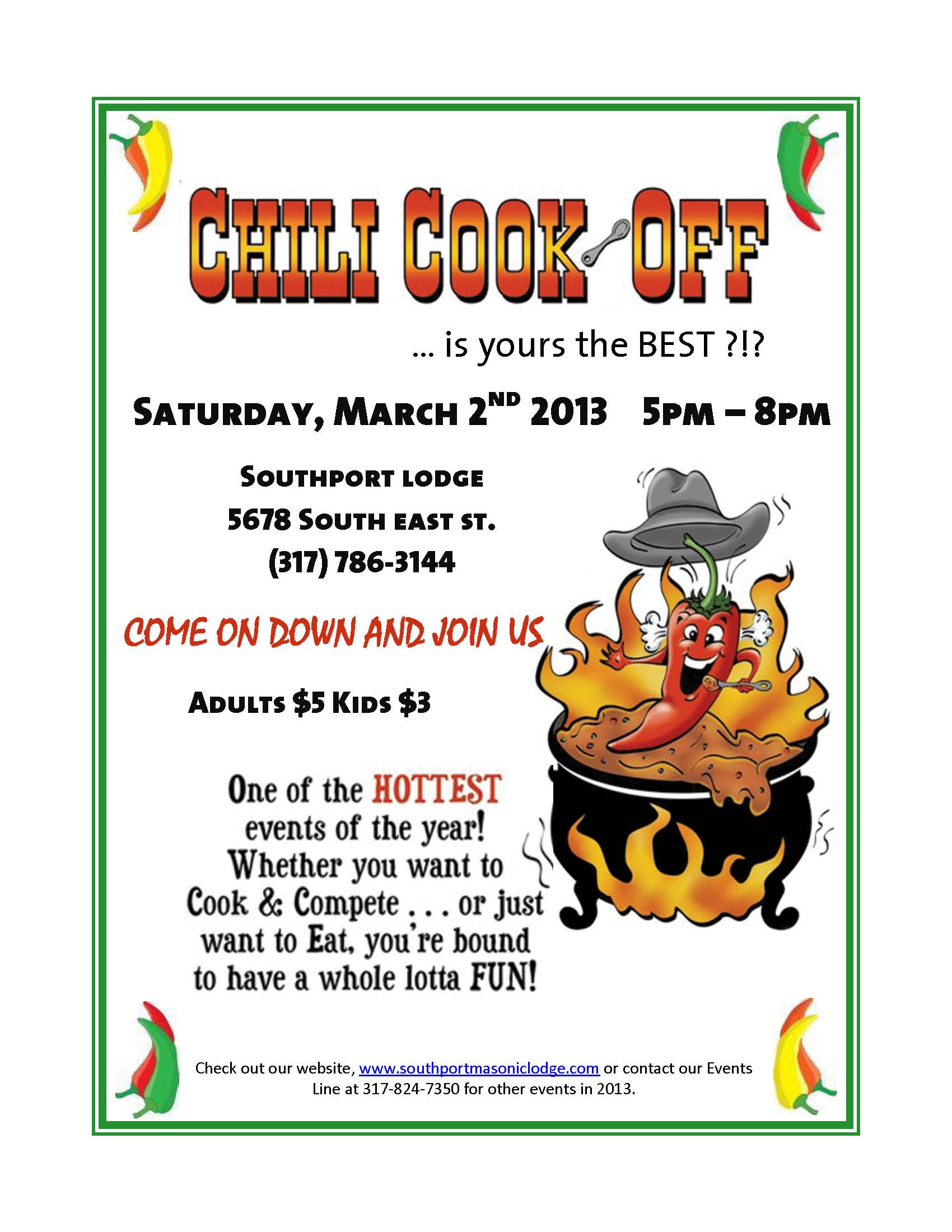 Southport masonic lodge events chili cookoff and each year brings out more participants were looking forward to another great year and hope it brings out even more participants xflitez Choice Image
