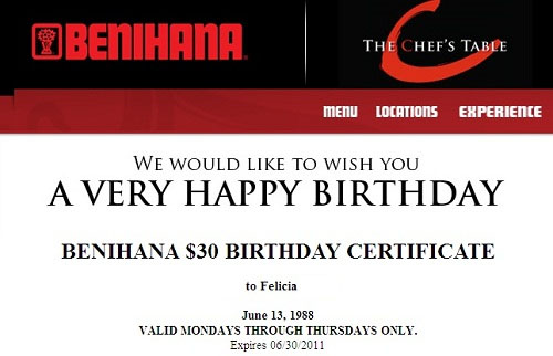 Benihana discount coupons