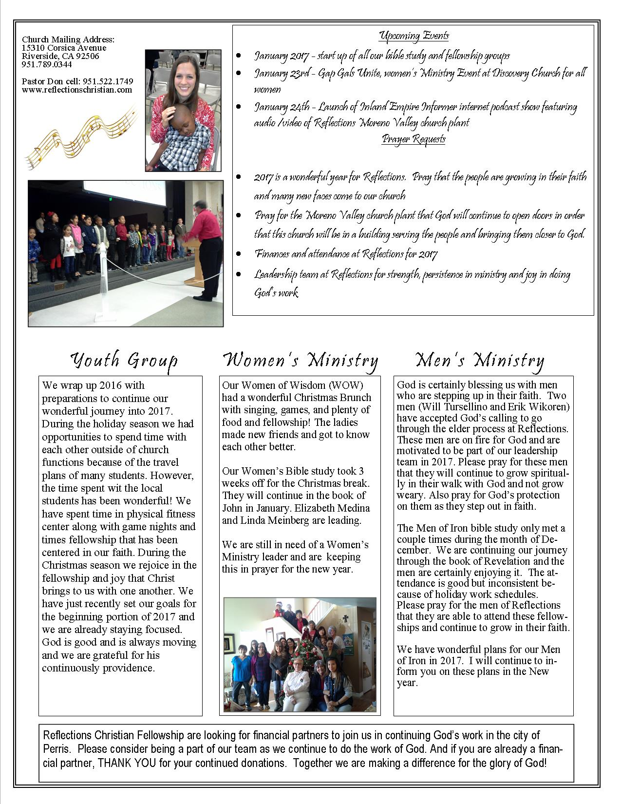 reflections christian fellowship monthly newsletter calendar